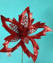 Large Red Glitter Poinsettia Pick ~ Artificial Flower